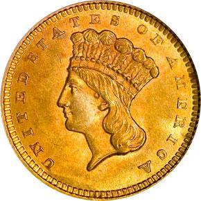 1860 G$1 MS obverse