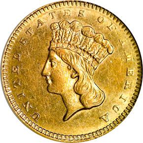 1860 S G$1 MS obverse