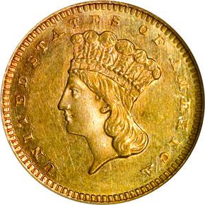 1865 G$1 MS obverse