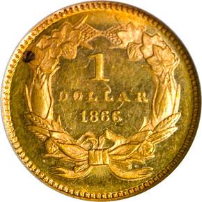 1866 G$1 MS reverse