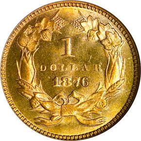 1876 G$1 MS reverse
