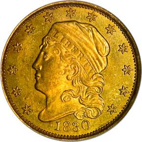 1830 $2.5 MS obverse