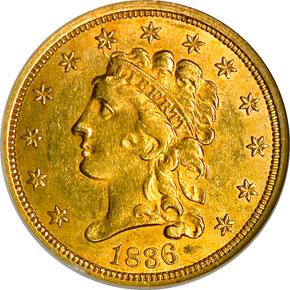 1836 $2.5 MS obverse
