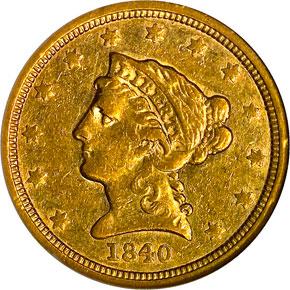 1840 $2.5 MS obverse