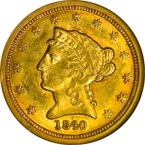 1840 O $2.5 MS obverse