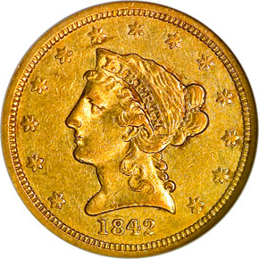 1842 $2.5 MS obverse
