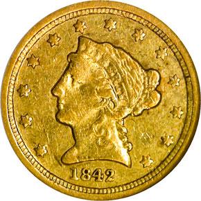 1842 C $2.5 MS obverse
