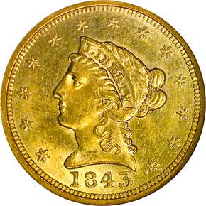 1843 $2.5 MS obverse