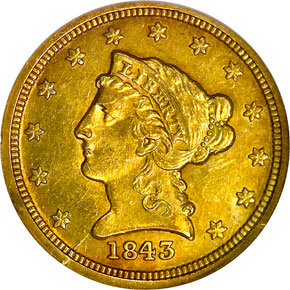 1843 C SMALL DATE $2.5 MS obverse