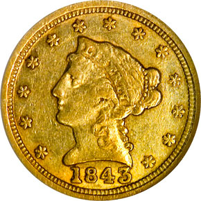 1843 C LARGE DATE $2.5 MS obverse
