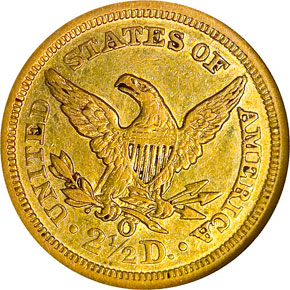 1843 O SMALL DATE $2.5 MS reverse