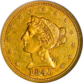 1845 $2.5 MS obverse
