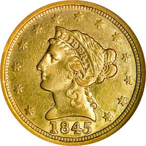 1845 O $2.5 MS obverse