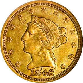 1846 $2.5 MS obverse