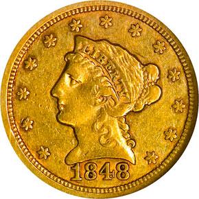 1848 $2.5 MS obverse