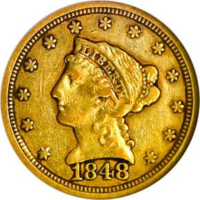 "1848 ""CAL."" $2.5 MS obverse"