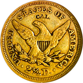"1848 ""CAL."" $2.5 MS reverse"