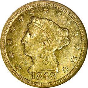 1848 C $2.5 MS obverse
