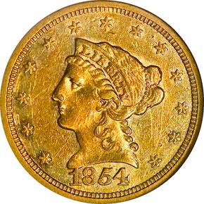 1854 S $2.5 MS obverse