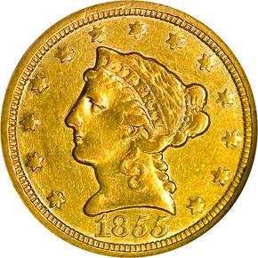 1855 C $2.5 MS obverse