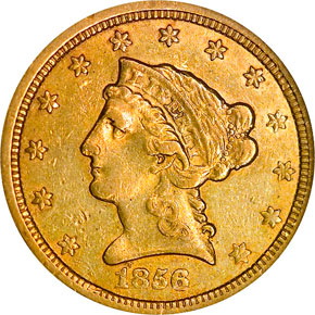 1856 O $2.5 MS obverse