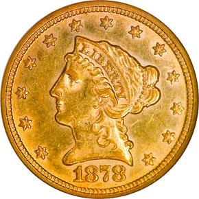 1878 $2.5 MS obverse