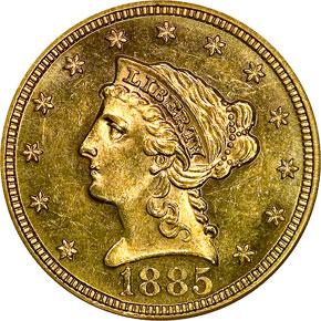 1885 $2.5 MS obverse