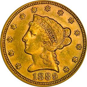 1889 $2.5 MS obverse