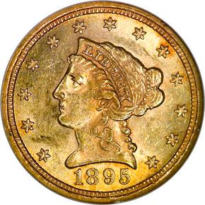 1895 $2.5 MS obverse