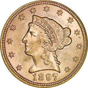 1897 $2.5 MS obverse