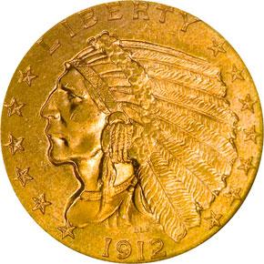 1912 $2.5 MS obverse