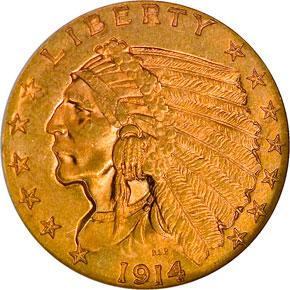 1914 $2.5 MS obverse