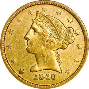 1840 O $5 MS obverse