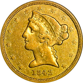 1842 O $5 MS obverse