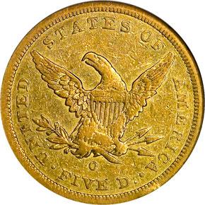 1842 O $5 MS reverse