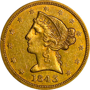 1843 O SMALL LETTERS $5 MS obverse