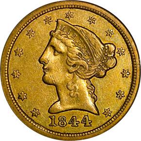 1844 O $5 MS obverse