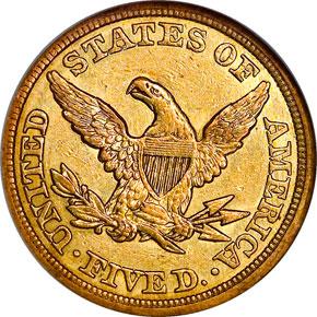 1850 $5 MS reverse