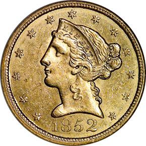 1852 $5 MS obverse