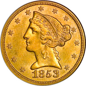 1853 $5 MS obverse