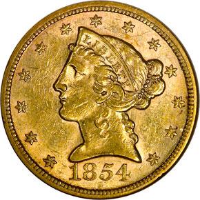 1854 $5 MS obverse