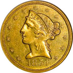 1854 O $5 MS obverse