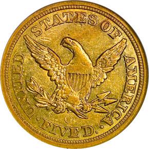 1854 O $5 MS reverse