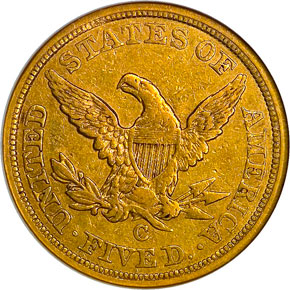 1855 C $5 MS reverse