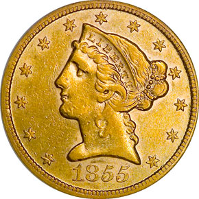 1855 S $5 MS obverse