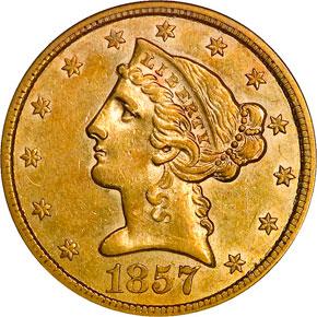1857 $5 MS obverse