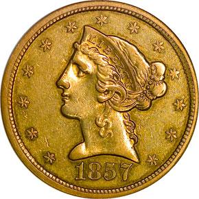 1857 O $5 MS obverse