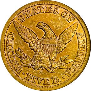 1859 S $5 MS reverse