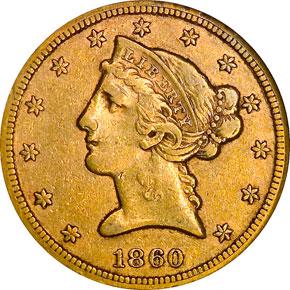 1860 S $5 MS obverse