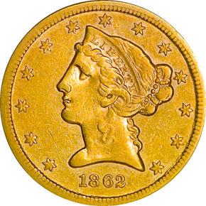 1862 S $5 MS obverse
